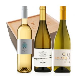 Fehér bor válogatás fadobozban